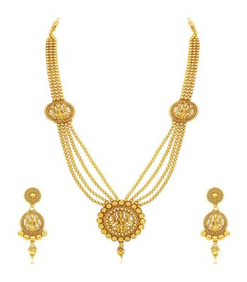 A2 Fashions Gold Finish Traditional Goddess Laxmi Pendent Multi Strand Necklace Set for Women and Girls
