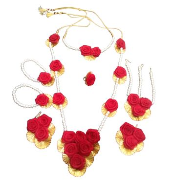 Bridal Gota Flower Jewellery For Haldi And Mehndi Functions