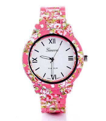 Geneva Pink Floral Dark watch for womens