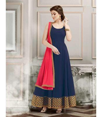 FABRICA SHOPPERS designer  navy blue Grorgett long Anarkali suit