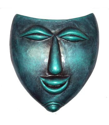 Terracotta Wall Hanging Green Lauging Mask-23 cm-Handcrafted Decorative Mask for Wall Decor Room Decor and Gifts