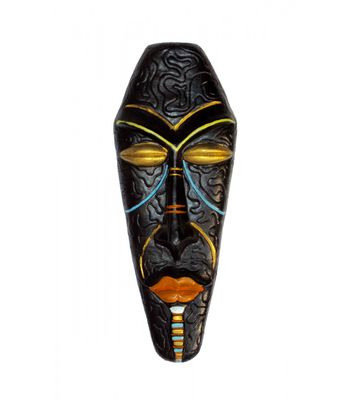 Terracotta Wall Hanging Multicolour African Decorative Mask Pair-37.5 cms-Handcrafted Wall living Room dcor  Gift Items
