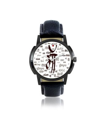 Klassy Collection Maa Dial Leather Strap Stylish Analog Watch - For Men