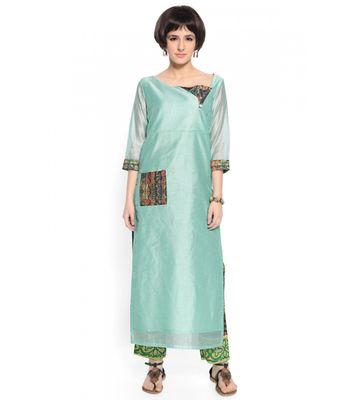 Admyrin Sky Blue Cotton Silk Digital Printed Kurta With Pant
