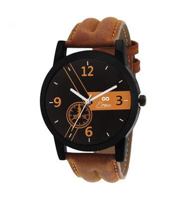 Eraa Men Flossy Brown and Black Wrist Watch
