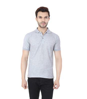 Ansh Fashion Wear Cotton Blend Polo T-shirt - Grey