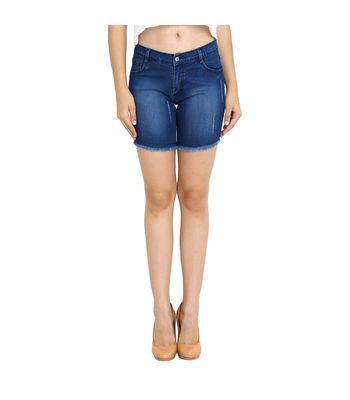 Fuego Fashion Wear Blue Damage Monkey Wash Shorts For Women-SHORT-MW1- DMG