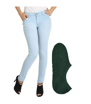 Fuego Fashion Wear Light Blue Jeans For Women With Assorted Boot Socks GRL-JNS-ACT3-BOOT-SOCKS-GRN