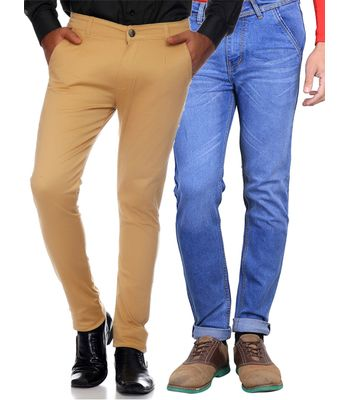 Van Galis Fashion Wear Multicoloured Combo of 2 Trouser With Jeans For Men 60