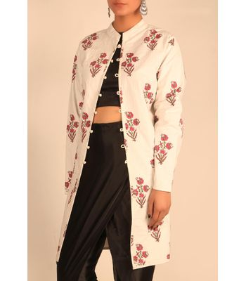 White  Fuschia Block printed jacket