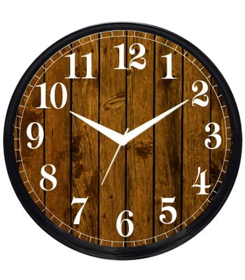 Cartoonpur Analog Round 11 Inch Wooden Look Wall Clock with Glass