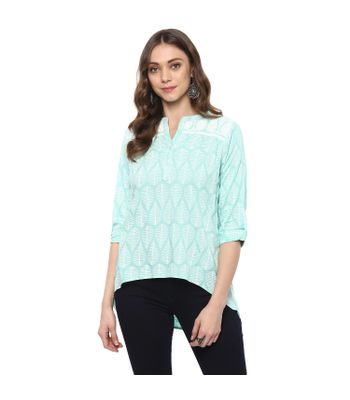 Vedic Womens Light Blue High Low Rayon Top