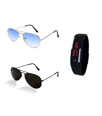 Royal Wood COMBO OF BLACK AVIATOR SUNGLASSES AND BLUE AVIATOR SUNGLASSES PAIR WITH DIGITAL BLACK LED WRIST WATCH - WITH 2 BOXES