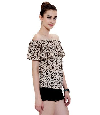 Shhtyle Beige Printed Rayon Off Shoulder Top