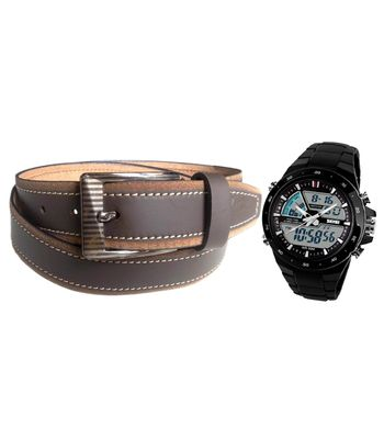 Combo of Brown Leather Belt with Skmei Sports Black Watch VLCOM09023
