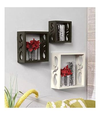 Decorasia Square Nesting Wooden Wall Shelf Colour - Black  White