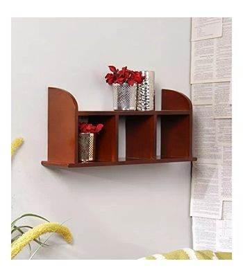 Decorasia Beautiful Brown Wooden Wall Shelves Size LxBxH-18x5x9.5 Inch