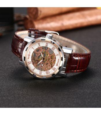 New Fancy Brown Leather  Open Men Wrist watch