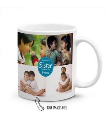 Multiple Images and Text Printed Personalized Mug for Sister