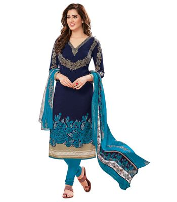 Risera Synthetic Blue Party Wear Wedding Wear Casual Daily wear Festive Wear Bollwood New Collection Printed Latest Design Trendy Unstitched Salwar Suit Dress Material AnarkaliPatiyala With Dupatta 08