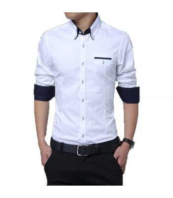 New Fancy White Pure Cotton Men Formal Shirt