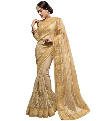 Indian women gold embellished saree HT51304