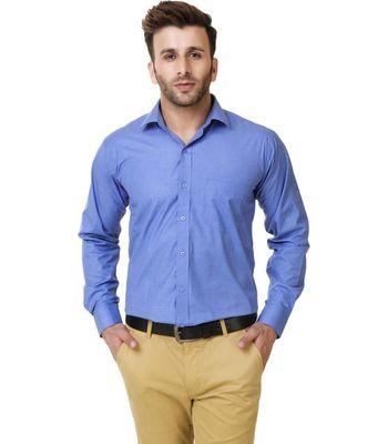 New Fancy Blue Cotton Men Formal Shirt
