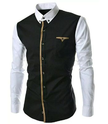 New Fancy Black And White Pure Cotton Men Shirt
