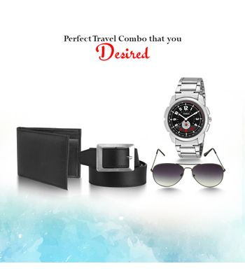 Timer stylish combo pack of watch along with 1 leather wallet 1 leather belt 1 sporty watch1 Aviator sunglass 07