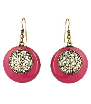AD JEWELS OXIDIZED PINK COLORED ROUND SHAPE EARRING SET BEST GIFT FOR WOMENS  GIRLS