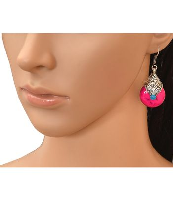 AD JEWELS FASHION DESIGNER JEWELLERY OXIDIZED PINK COLORED EARRING SET FOR GIRLS  WOMENS