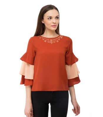 BGORG Women Western Frill top with embroidery in Rust Colour