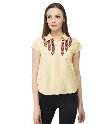 BGORG Women Western Stripe shirt with embroidery in Yellow Colour