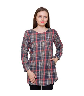 Mythya Womens Multicoloured Checkered Cotton Top