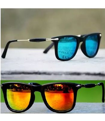Skygge Original combo of Unisex Wayfarers Mirrored Blue and Orange Colour Sunglasses with Black Frame HD Vision