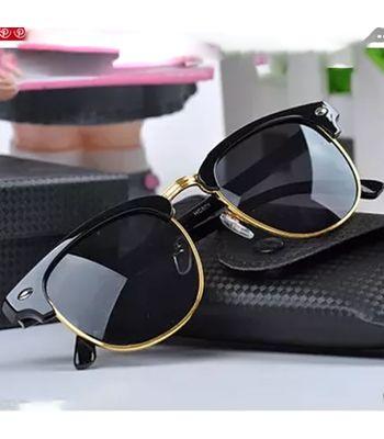 Skygge Original Polarised Gun-Metal Clubmaster Wayfarer Black frame Black lens Unisex Sunglasses