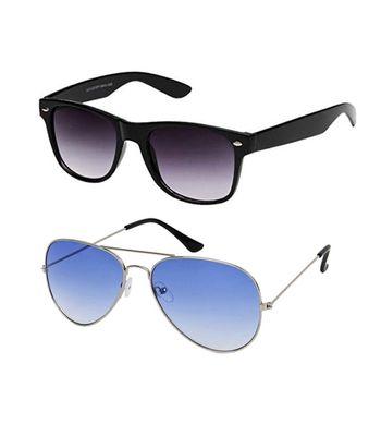 Skygge Original Unisex Combo Of Silver Frame Sea Blue Lens Aviator And Black Frame Purple Lens Wayferer UV 400 Protected Polycarbonate Sunglasses