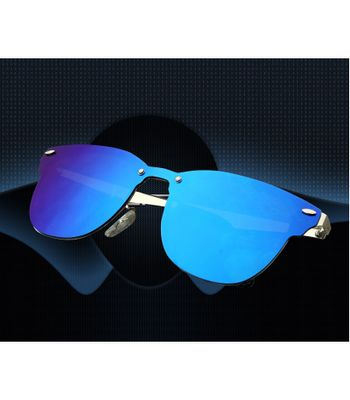 ENUV Original UV Protected Fully-Mirrored Blue Wayfarer Sunglasses