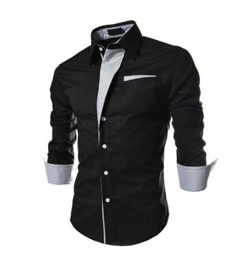 Collar up Dark Black Slim Fit Formal Shirt