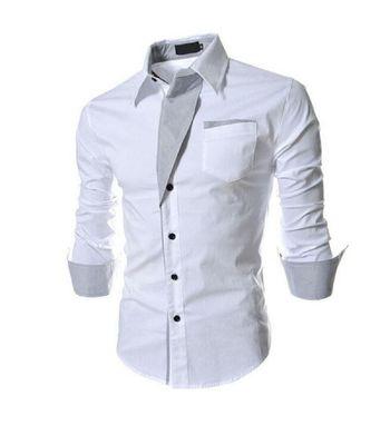 Collar UP White Slim Fit Formal Shirt