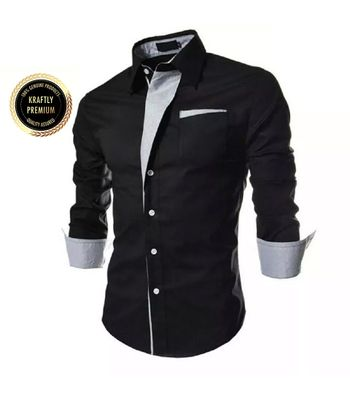 Collar up Dark Black Slim Fit Formal Shirt