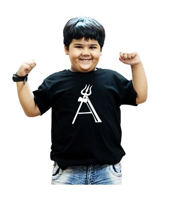 HEYUZE 100 Cotton Printed Black Half Sleeve Kids Boys Round Neck T Shirt With HEY-KTS-HS-GN-BOY-BLK-1455