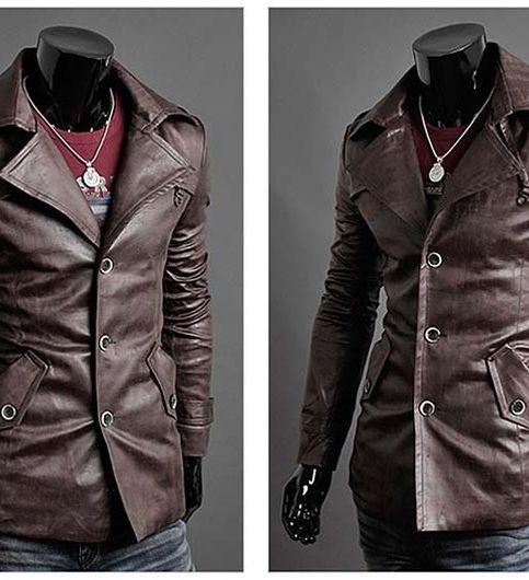 Italiano TUCCI Vintage Slim Fit Padding Style Designer Mens Semi Leather Jacket Brown P01