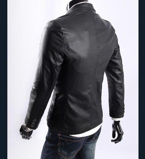 Italiano TUCCI Vintage Slim Fit Padding Style Designer Mens Semi Leather Jacket Black P18