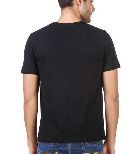 Round Neck Cotton Black Mens Half Sleeve Printed T shirt 58