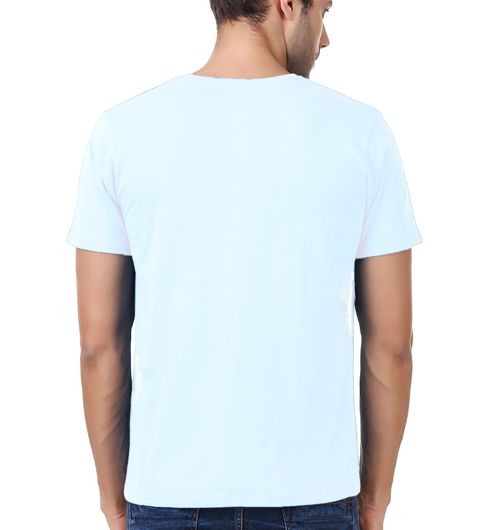 Round Neck Cotton White Mens Half Sleeve Printed T shirt 50