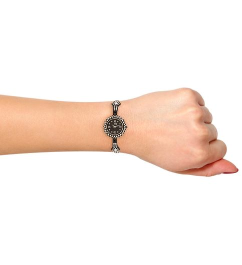 WATCH ME Black Metal Black Dial Watch For Women Watch MeAL-124
