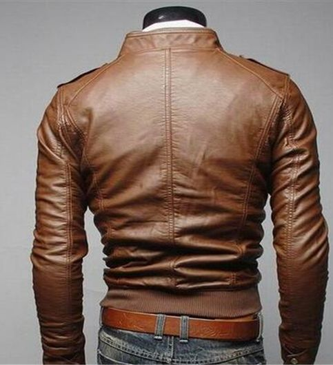 Italiano TUCCI Vintage Slim Fit Padding Style Designer Mens Semi Leather Jacket TAN Color P02