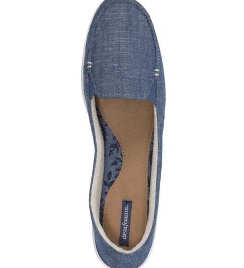 Dearfoams Cambray Blue Moccasin with Gore