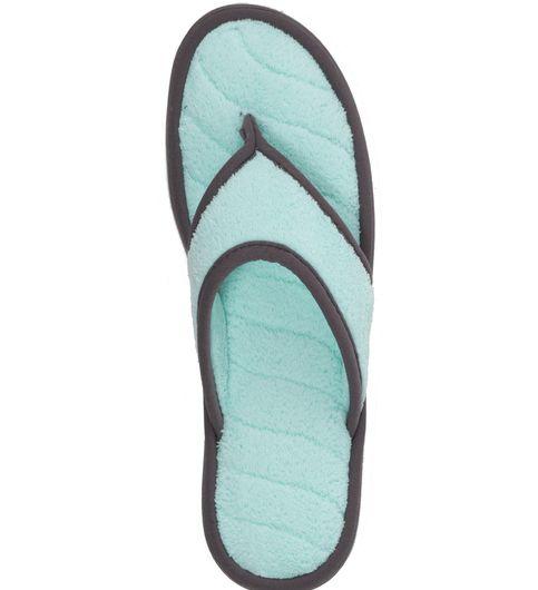 Dearfoams Microfiber Terry Flip Flop with Blue Wave Quilt Sock